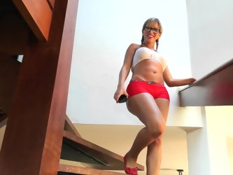 When she noticed that her lover is filming her coming down the stairs, this blonde hottie gets playful and teases him a little, only to have him whip