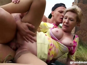Mature, blonde woman with short hair is always in the mood to suck dick and get fucked