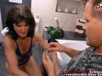 german skinny old mature mom seduced in bathroom with saggy tits