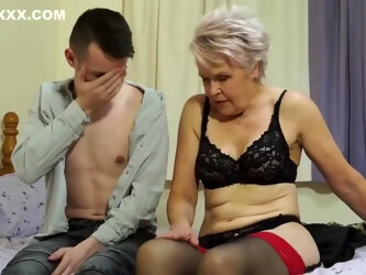 Mature blonde lady in an animal printed dress is into her young neighbor, quite a lot