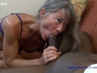 Amazing elderly woman is eagerly sucking a big, rock hard meat stick and getting it inside her