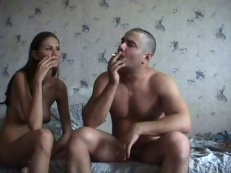 Rapacious Russian chick with fine jiggly ass joyfully rides her lover's cock jiggling her sweet butt. When they finish they both smoke cigarettes