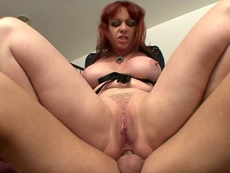 Mature redhead hoochie Kylie Ireland does anal with her cocky stud. Cougar rides that meat pole with her asshole and reaches heavy orgasm.