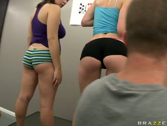 Jessica Moore and two more bootylicious babes participate in anal competition. Jessica easily wins it and her plumpy booty is oiled and licked. It is