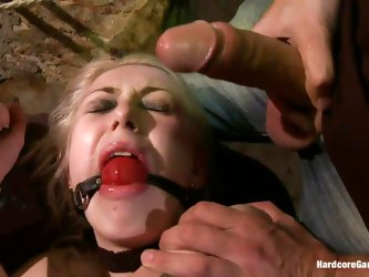 This sexy blonde babe, Isabella Clark, gets abducted by a bald guy and taken to a quiet place. Her mouth is ball gagged and she is completely naked! T