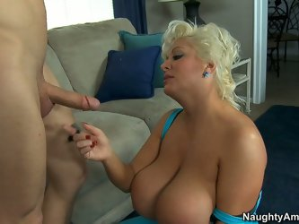 Claudie Marie is a busty blonde with huge boobs and forms. The nasty milf gives amazing blowjob and tit fucks her younger boyfriend. Then dirty bitch