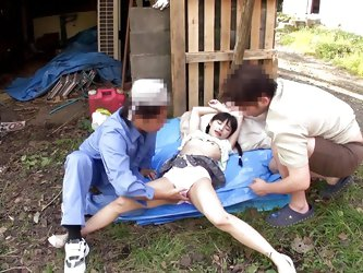 These maintenance workers lay down a tarp and have their way with this tiny Japanese babe. she is leaking though her panties, so they undress her and