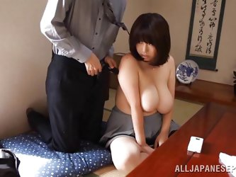Rin has an amazing pair of fat, floppy tits. She pulls them out of her blouse and lets her man play with them. He pulls his cock out and slaps it agai