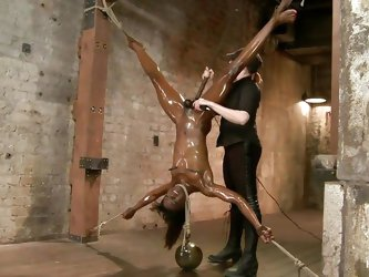 Black whores are great for a mean bdsm session. This is has a slim, fit body that's just perfect for a mean punishment. We've got her tied,