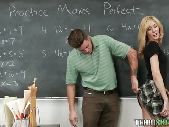 Blonde Emily has a crush on her math teacher. She not very good at math but this baby knows how to suck a man's hard cock. She makes him horny an
