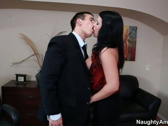 Busty brunette has been working for a long time in this firm. She likes her boss and has heard that his cock is big. Now this black head wants to chec