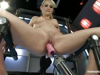 Would you look at that big pink dildo this blonde cunt has in front of her? She look at it with greed and after preparing her pink cunt with that vibr