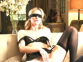 Blindfolded MILF gives head to lover while husband watches this process nearby. Beau continues to satisfy slutty woman but hubby can't resist tem