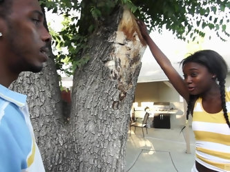 African ebony teen with pigtails Bonnie Amor rides a huge cock