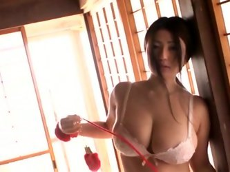 Charming pale skin diva named Nonami Takizawa is fucking gorgeous. She rubs and squeezes her massive melons for your viewing enjoyment.
