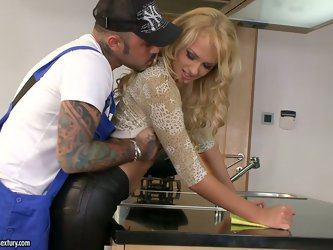 Delightful blonde sexpot Ivana Sugar finds that plumber fuckable. Babe leans forward and lets him eat her asshole and fuck her doggystyle.
