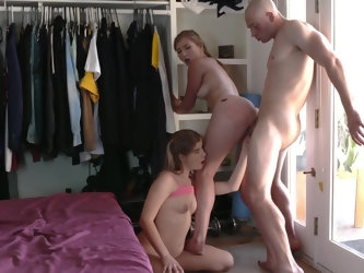 Babe wanted to get to penis of girlfriend's man for a long time so she chose the right moment and tempted him right behind the back of his chick