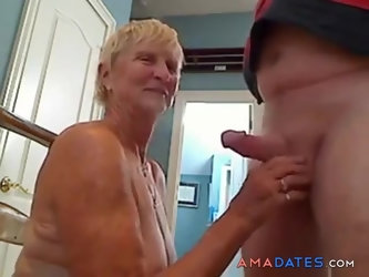 Horny blonde granny sucking dick
