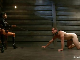 Beretta, a brunette mistress with a gorgeous ass is dominating her sex slave and destroys his self esteem with devilish pleasure. She has him down on