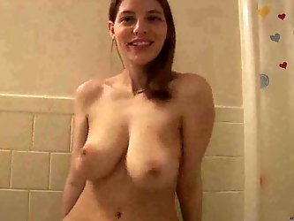 My 19 years old babe is a proud proprietress of huge natural tits. Watch my girl pinching her hard nipples and squeezing her tender melons all naked.