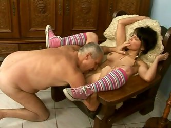 Perverted old fart loves fresh chicks with tasty tight pussy. So he seduces one for sex and eats her pussy dry. He also face fucks pretty girl.