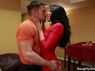 Latin sex bomb in passionte red dress is having a romantic date with a rapacious fucker. Romantic dinner ends up with a sensual rimjob of her appetizi