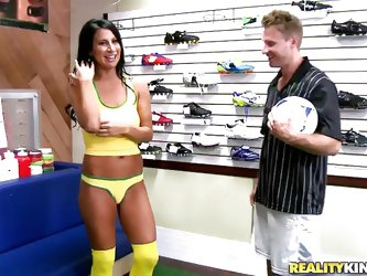 Her athletics days are over, but Sophia's love for soccer isn't gone. The salesman cannot help but admire the toned MILF and offered her to