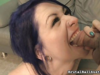 Bad girl Larkin is in need for some cock and she teases her man. She sticks her nylon covered foot in his mouth and bites on his cock hard. She sucks