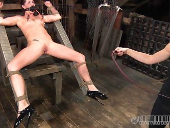 CiCi Rhodes tortures her slaves in the most painful and humiliating ways possible. She uses a device to suck the juice out of her slaves pussy then ma