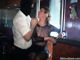 This horny brunette slut was standing alone in the bar when