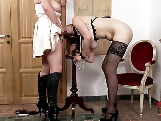 Last we left Mistress Paige and Sapphire, Paige was having her very little evil ways with her submissive hot-stress and her juicy melons. I bet you wi