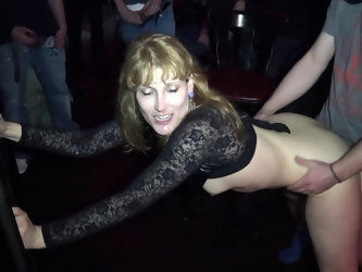 Naughty wife Nicole gangbanged by everybody at a club
