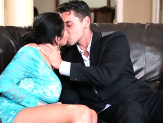 Sexual fantasies of brunette hottie Missy Martinez become real with help of handsome gentleman. He gives her a tender kiss on leather couch and can
