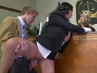Danny D forgets about his client as soon as prosecutor Nikki Benz shows huge coconuts. The lawyer gives her big cock for sucking and drills wet vagina