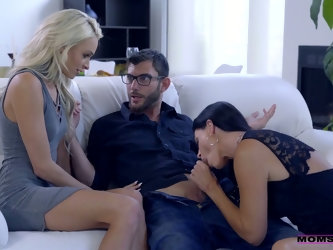 Emma Hix is so happy about riding strong cock during wild MFF threesome