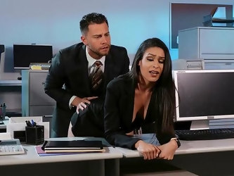 Man with huge dick fucks these bitches at the office