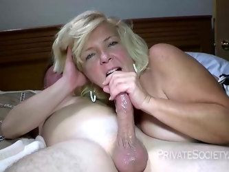 Raunchy and horny blond granny is getting fucked hard from the back by a white cock