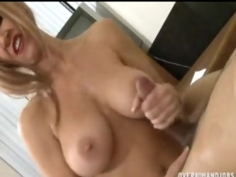 Amateur blonde wife, lets her husband fuck her tits and mouth