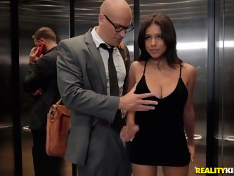 Teen babe Autumn Falls fucked by a stranger in an elevator
