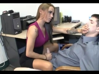 HOT BOSS GIVES WIMP BOY HANDJOB