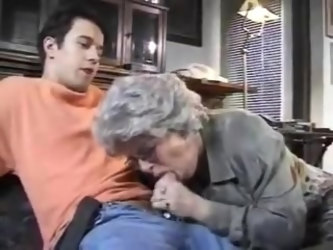 Hot granny gets fucked and creampied by young man