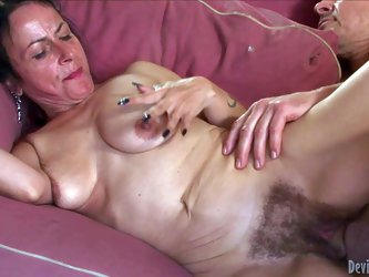 Horny granny Miss Nina Swiss with hairy pussy gets her fuck hole filled with young hard cock. She takes his sausage so deep in her love tunnel. She ha