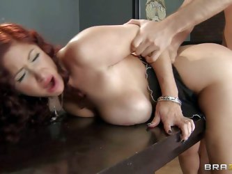 Tiffany Mynx is a hot milf with huge knockers and she uses them to stea pretty things from old farts. James Deen is chasing her and finally arrests ch