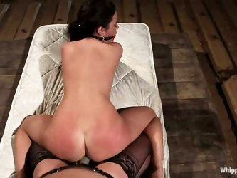 Taylor Vixen gets a wild lesbian punishment in this lezdom scene with famous domina Bobbi Starr. Slave girl gets spanked on her juicy ass before strap