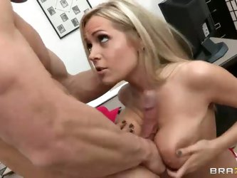 Horny blonde bombshell Darcy Tyler with perfect big melons and silky smooth pussy seduces Johnny Sins easily. She blows him and gives great deep blowj