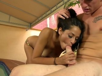Slender brunette does tight blowjob to her fucker friend