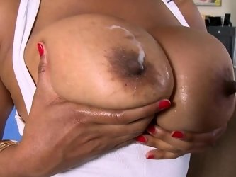 Big tits and ass black chick banged by a thick white dick