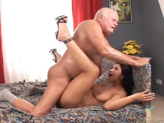 Tera Joy rides a senior's hard cock while wearing a firefighting hat