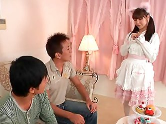 Japanese Hot Teen With Stocking and Hairy Pussy Screwed By Two Teens