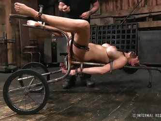 Rain DeGrey is tied to a rolling torture device. Her nipples are clamped extremely tight and her mouth is wrapped around a tube for easy cock insertio